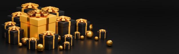 Prettige kerstdagen en gelukkig nieuwjaar banner luxe stijl., realistische gouden en zwarte geschenkdoos met gouden kerstballen