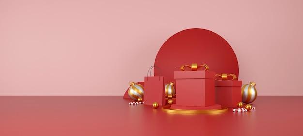 Prettige kerstdagen en gelukkig nieuwjaar banner rode boodschappentas op rode achtergrond