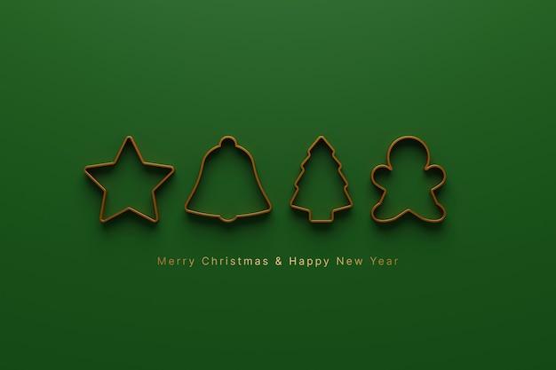 Prettige kerstdagen en gelukkig nieuwjaar concept icon christmas ornament op groene achtergrond