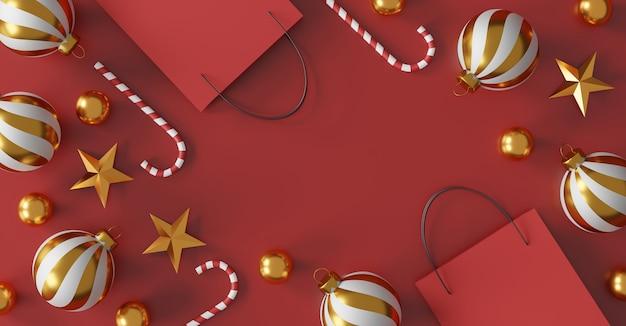 Prettige kerstdagen en gelukkig nieuwjaar concept. rode boodschappentas op rode achtergrond. verkoop banner ontwerp. 3d illustratie