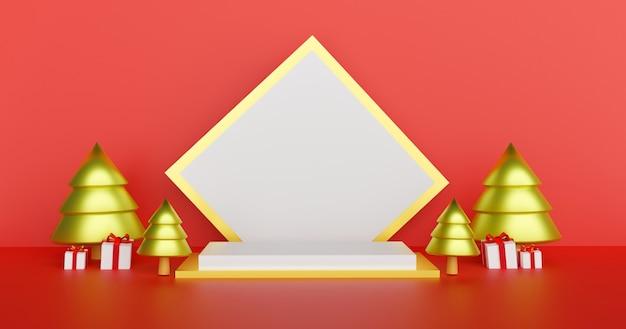 Prettige kerstdagen en gelukkig nieuwjaar, kerst achtergrond met podium voor een product 3d-rendering.