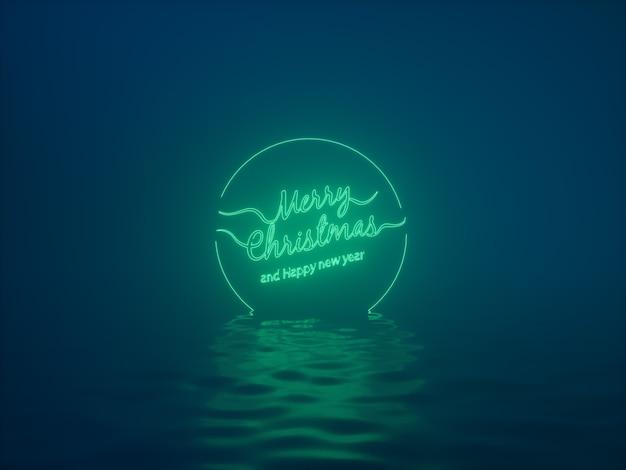 Prettige kerstdagen en gelukkig nieuwjaar neon tekstachtergrond