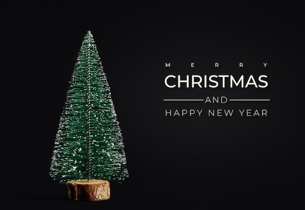 Prettige kerstdagen en gelukkig nieuwjaar samenstelling met kerstboom op zwarte achtergrond