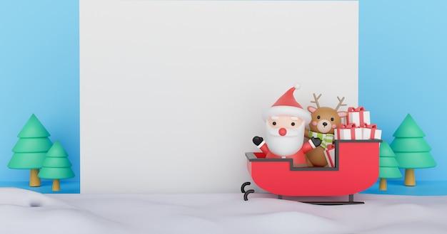 Prettige kerstdagen en gelukkig nieuwjaar samenstelling met schattige kerstman met cadeautjes