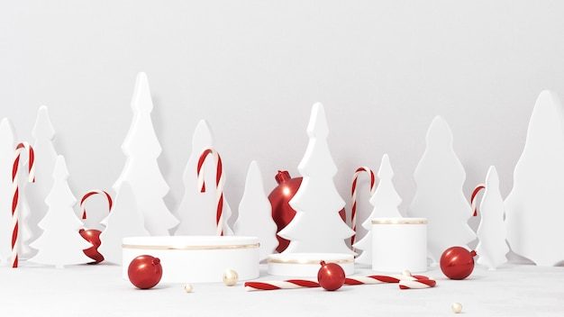 Prettige kerstdagen en gelukkig nieuwjaar wenskaart met podium