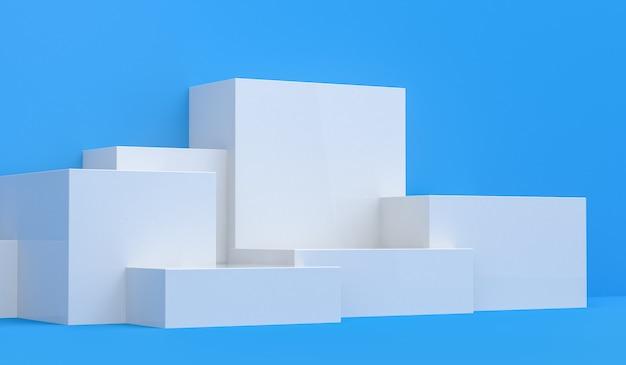 Primitieve geometrische figuren, 3d render, podium voor de geadverteerde goederen