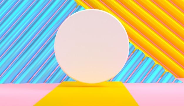 Primitieve geometrische vormen abstracte achtergrond, pastel kleuren, 3d render.