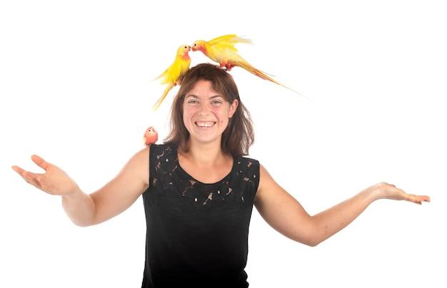 Princess papegaai bourke, en vrouw, voor witte achtergrond
