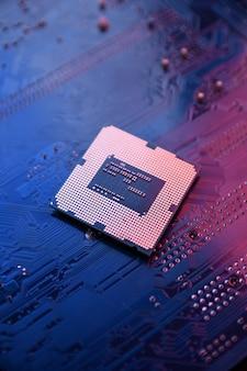 Printplaat. technologie. centrale computerprocessors cpu-concept. moederbord digitale chip. ai. detailopname