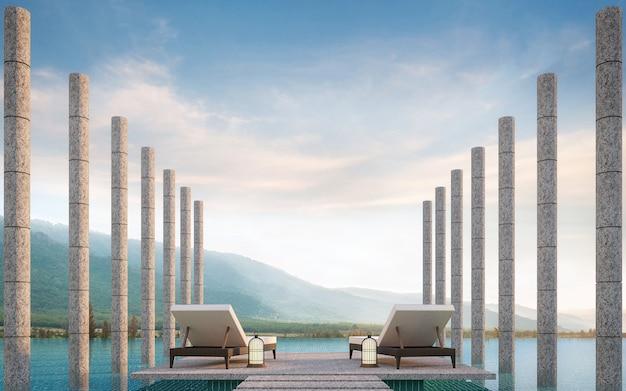 Privé terras op zwembad met uitzicht op de bergen 3d render
