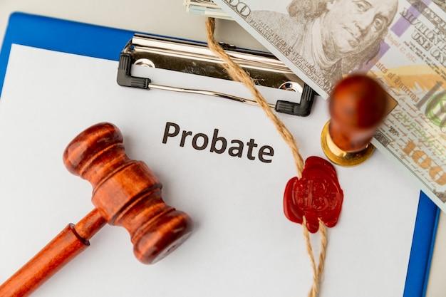 Probate tekst geschreven op een dagboek. testament en testament.