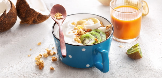 Probiotisch voedselconcept. kom zelfgemaakte kokos yoghurt met granola en fruit gezond veganistisch eten lekker en gezond ontbijt