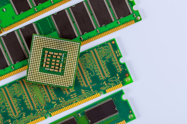 Processor cpu- en ram-geheugenmodules