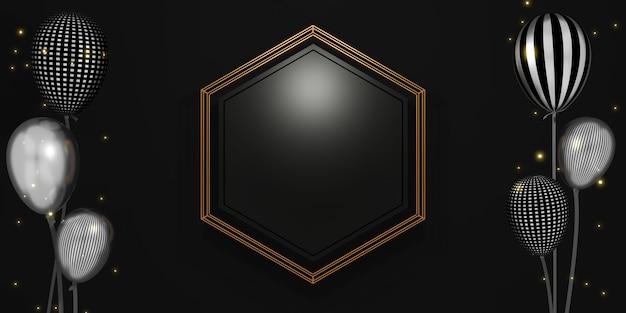 Product display zeshoek frame lege marmeren textuur achtergrond voor tekst en goederen 3d illustratie