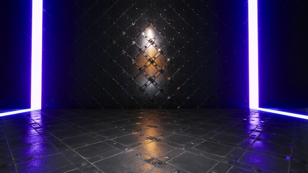 Product showcase spotlight-achtergrond met blauwe neonlichten