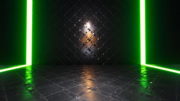 Product showcase spotlight achtergrond met groene neonlichten op de achtergrond op een glanzende metalen vloer