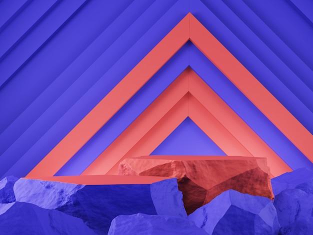 Product showcase steen blauw rode kleur met grafische abstracte achtergrond 3d-rendering