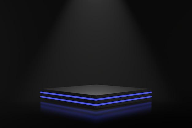 Product standontwerp met blauwe verlichting. 3d-weergave.