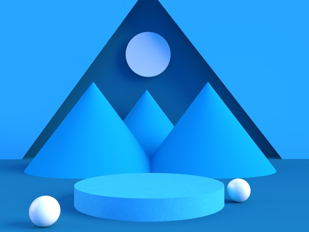 Product weergeven houten podium met blauwe geometrische muur 3d-rendering vorm