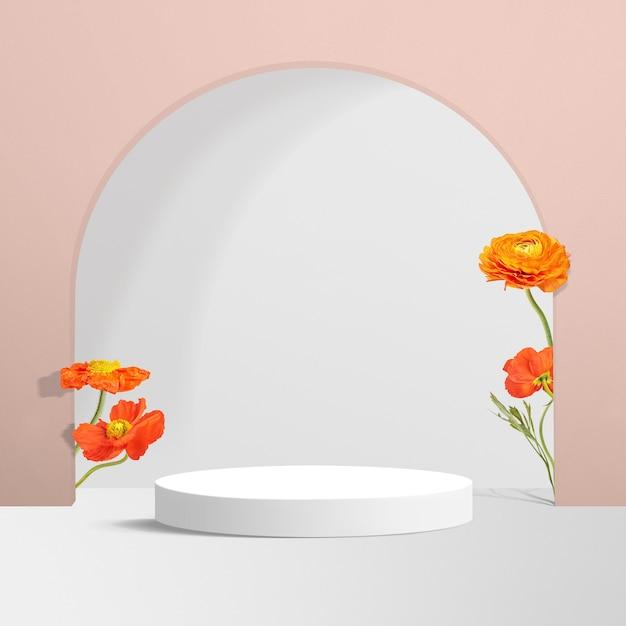 Productachtergrond met bloemen in roze