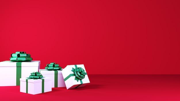 Productachtergrond voor nieuwjaar, kerstmis en verkoopconcept. geschenkdozen met strik op rode achtergrond. 3d-weergave