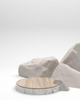 Productdisplay in geometrische vorm marmeren textuur en crèmekleurige houten omringende stenen op een witte achtergrond en steen Premium Foto