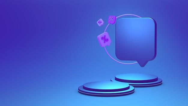 Productdisplay of podium met een procentsymbool op een blauwe achtergrond 3d-rendering 3d-afbeelding