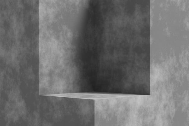 Productdisplay-ontwerp met cementtextuur. 3d-weergave.
