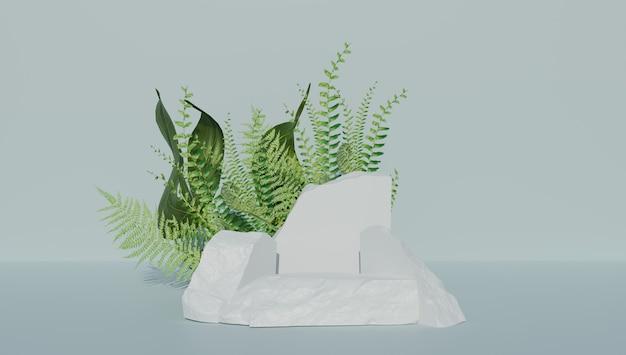 Productdisplay op rustieke stenen met planten op de achtergrond. 3d-rendering.