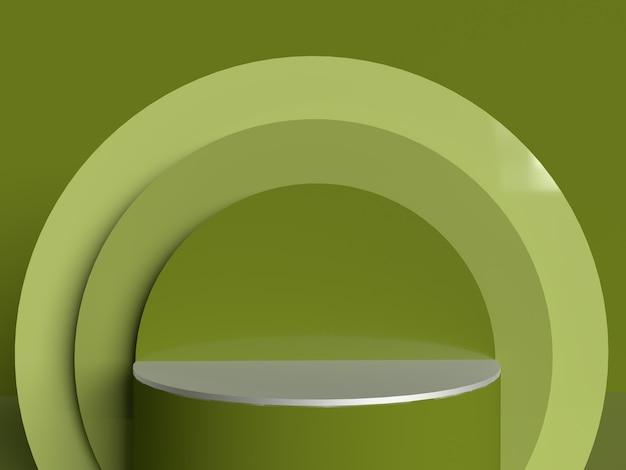 Productdisplay podium met groene geometrische muur 3d glanzende matte weergavevorm