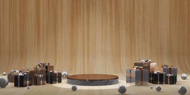 Productdisplaystandaard en geschenkdoos natuurlijke houtnerf achtergrond nieuwjaar en kerst