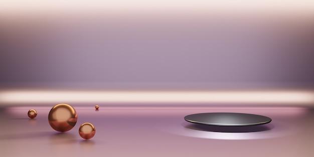 Productdisplaystandaard en sprankelende gouden kralen premium luxe achtergrond 3d-illustratie