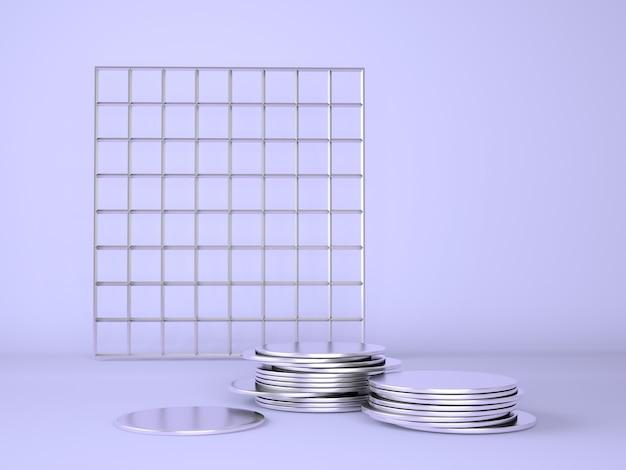 Productpodium met geld op pastel paars, 3d illustratie.