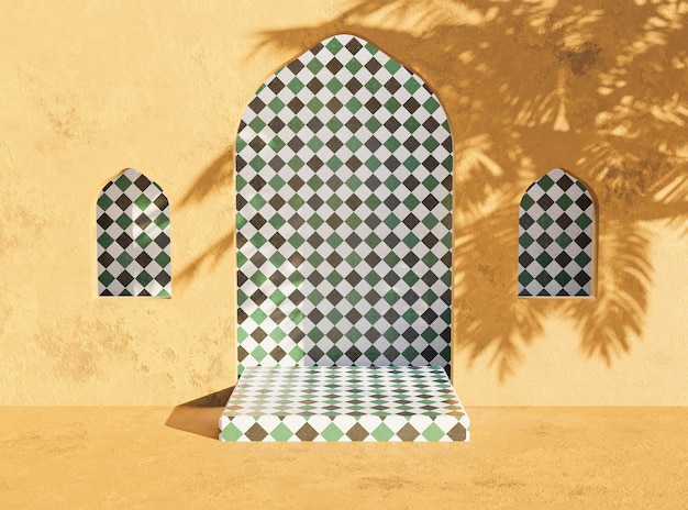 Productpresentatiestandaard in arabische stijl met palmboomschaduw