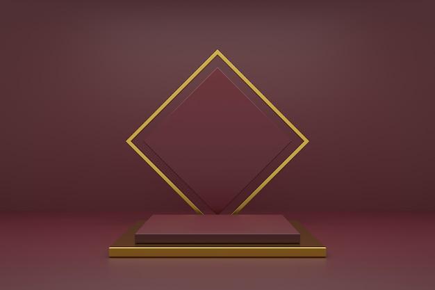 Productstand design met luxe concepten. 3d-weergave.