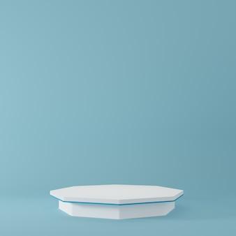 Productstandaard in blauwe kamer studioscène voor minimaal productontwerp3d-rendering