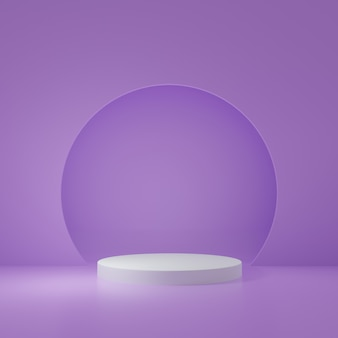 Productstandaard in paarse kamer studioscène voor minimaal productontwerp3d-rendering