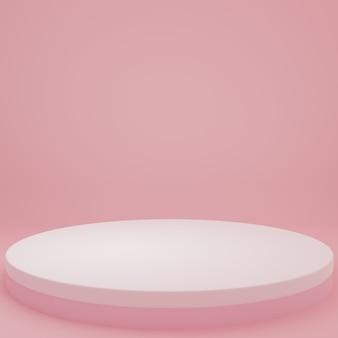 Productstandaard in roze kamer studioscène voor minimaal productontwerp3d-rendering