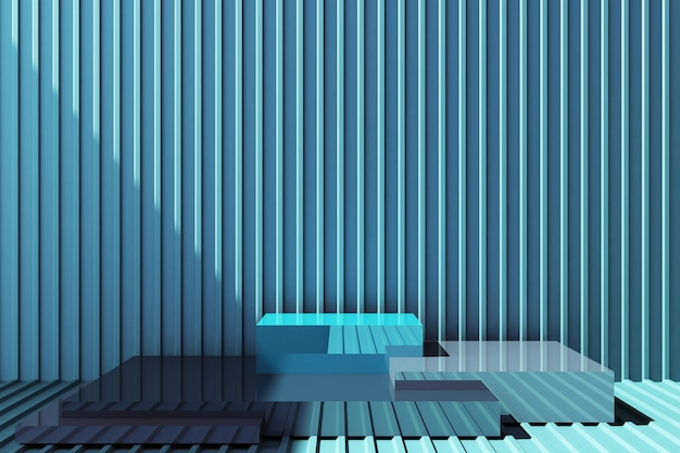 Productstandaard met blauwe metalen plaatwand