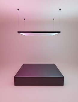 Productstandaard met vierkante neonlamp