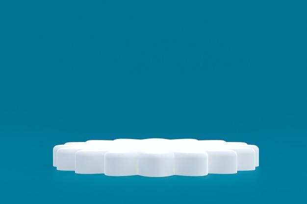 Productstandaard, podium minimaal op blauwe achtergrond voor cosmetische productpresentatie.