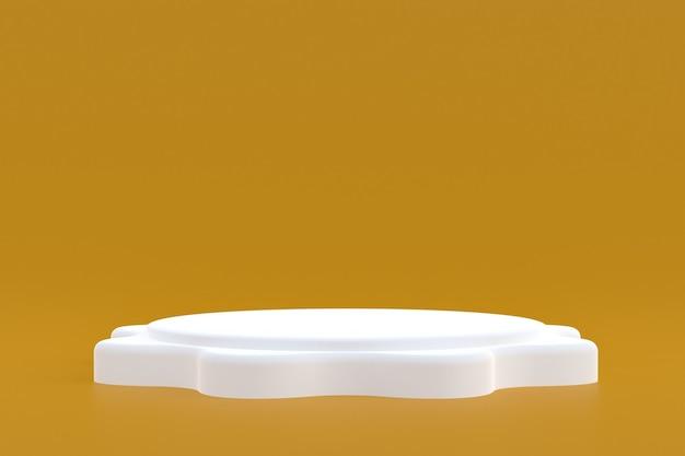 Productstandaard, podium minimaal op bruine achtergrond voor cosmetische productpresentatie.