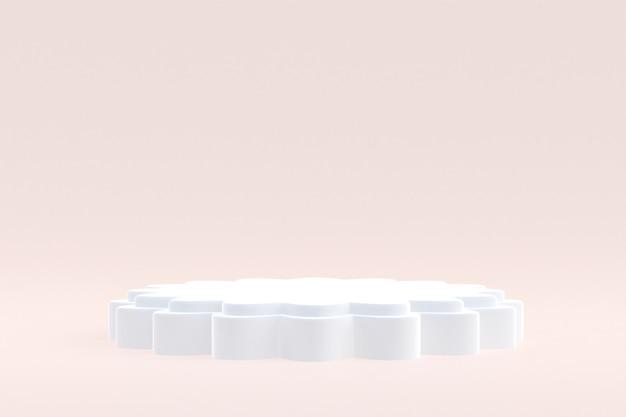 Productstandaard, podium minimaal op crème achtergrond voor cosmetische productpresentatie.