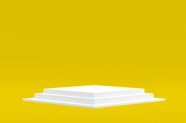 Productstandaard, podium minimaal op gele achtergrond voor cosmetische productpresentatie.