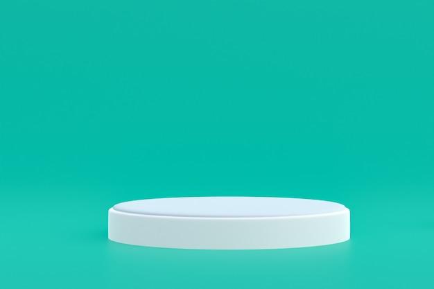 Productstandaard, podium minimaal op groene achtergrond voor cosmetische productpresentatie.
