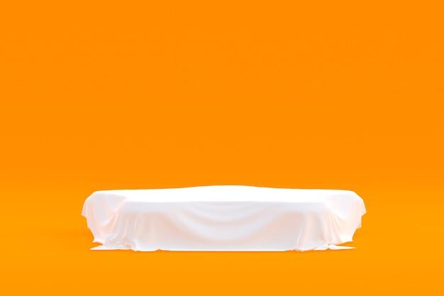 Productstandaard, podium minimaal op oranje achtergrond voor cosmetische productpresentatie.