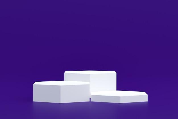 Productstandaard, podium minimaal op paarse achtergrond voor cosmetische productpresentatie.