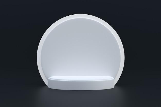 Productstandaard, podium minimaal op zwarte achtergrond voor cosmetische productpresentatie.
