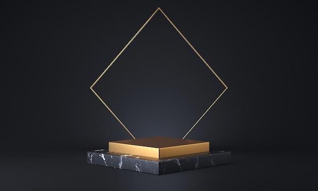 Productstandaard van zwart marmer en goud. mode showcase modern concept. abstracte leeg podium of voetstuk 3d-rendering