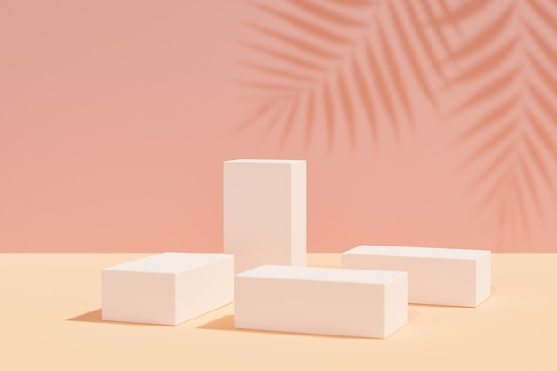 Productstandaard voor cosmetische weergave. blokken podium op geel roze achtergrond met palmblad schaduw. 3d-rendering illustratie